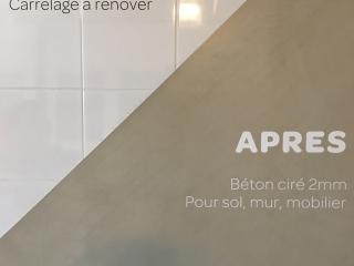Béton ciré pour une rénovation de salle de bains carrelage à Nîmes (30)