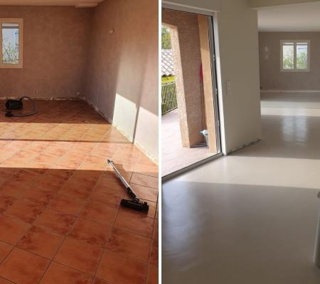 Rénovation de sol carrelage : création d'un sol moderne en béton ciré à Saint-Mamert-du-Gard (30)